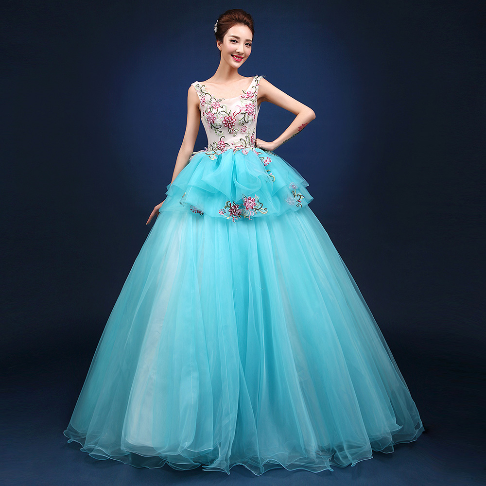 light sky blue flower embroidery ball gown cosplay medieval dress/dance/stage performance/solo gown