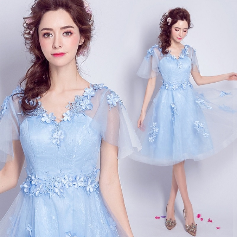 2018 new stock plus size women pregnant   bridesmaid     dresses   wedding party A line lace backless sexy romantic cheap blue   dress