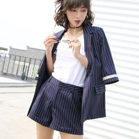 2017 Women Office Lady Blue Striped Short Pant Suits 2 Two Piece Sets Fashion Notched Jacket