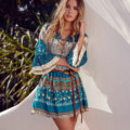 Everkaki 2017 Summer Bohemian Print Short Dress Mini Floral High Waist V Neck Tied Rope Dresses Beach Butterfly Sleeve vestidos
