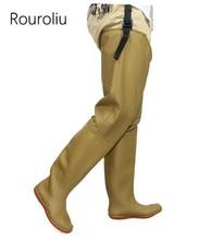 Rouroliu Autumn Winter Over-the-Knee Fishing Shoes Men Waterproof Safety Work Man Wellies High Rain Boots RT373