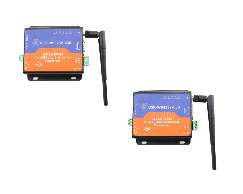 2 Piece USR Serial Rs 232 Rs485 to WIFI and Ethernet Server Converter, 2 TCP/IP Port Q13433-2