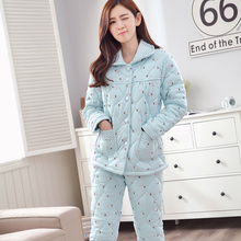 d24afd8811 Winter Pyjamas Cotton 3 layers quilted pajamas Female Thicken Keep Warm  Long sleeve Character Leisure Suit