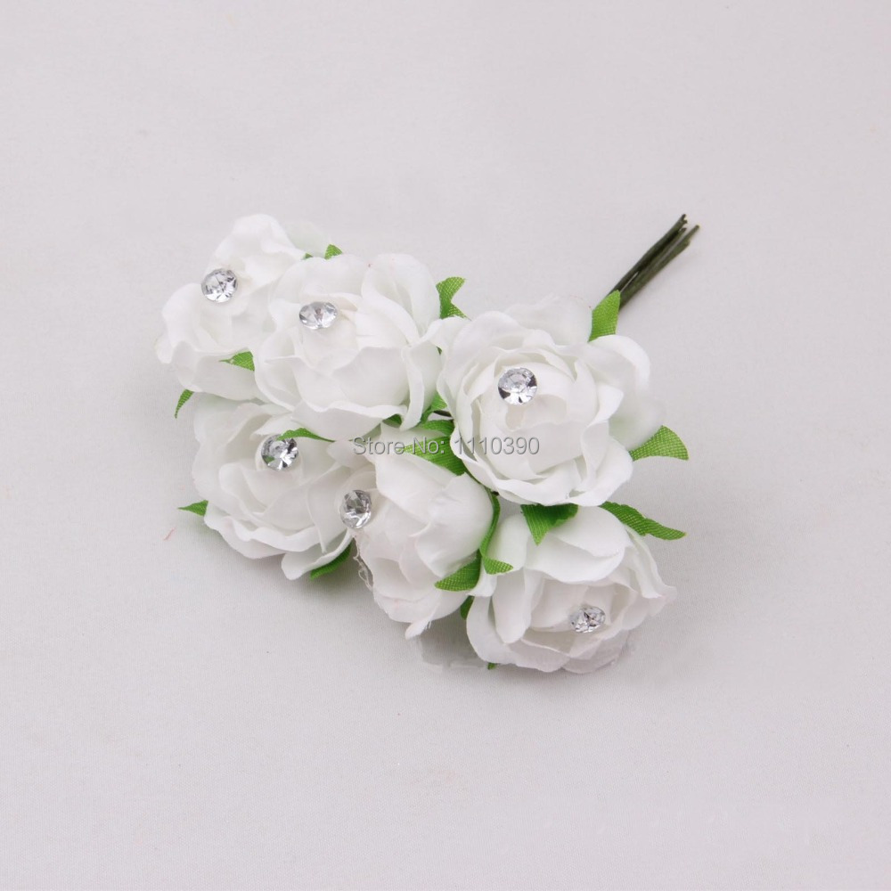 3cm Mini Artificial Silk Flowers Bouquet With Crystals Pealreal