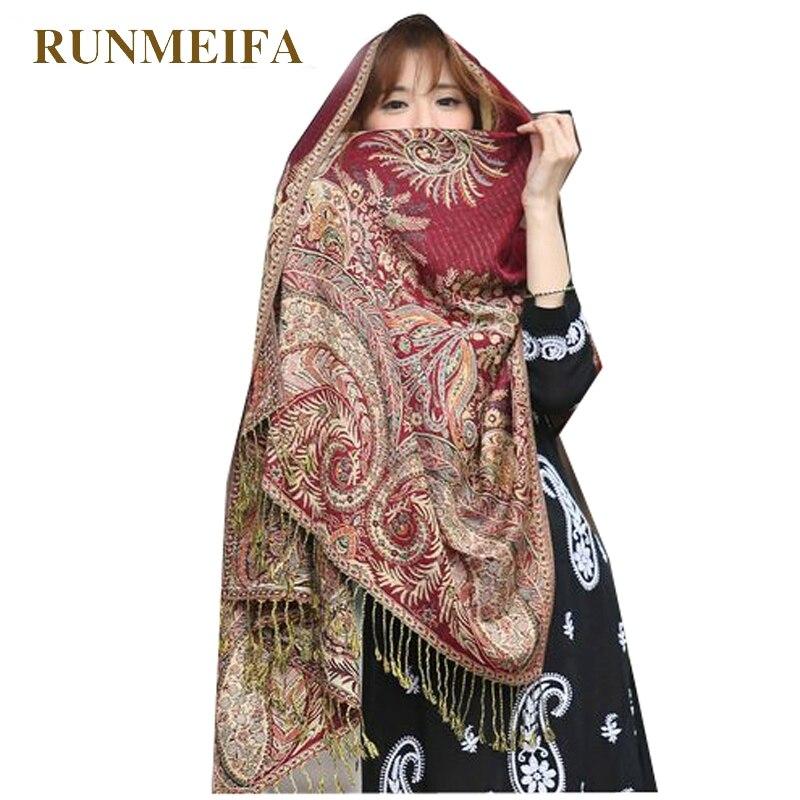 RUNMEIFA 2019 Elegant Women Cashmere Pashmina Scarf Fashion Print Floral Shawl Wrap foulard female Hijab Stole Scarves Plus Size