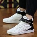 Ramialali Marca Mens Casual Zapatos de Hip Hop Zapatos Otoño Invierno Botas de Cuero de Cuero Negro Blanco Zapatos de Los Hombres Zapatos De Hombre