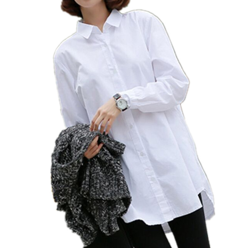 Benuynffy 2016 Spring Autumn Female Long Sleeve White Cotton ...