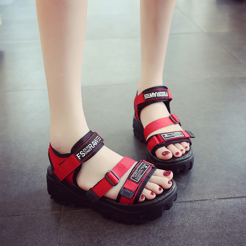 HKJL Sandals Woman 2019 New Summer Korean Version Baita Leisure Muffin Bottom One Shoe Two Sandals A345 in Middle Heels from Shoes