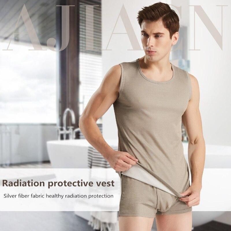 Genuína proteção de fibra de prata radiação eletromagnética EMF blindagem dos homens colete sem mangas roupa interior quatro estações