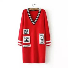 large size women long sweaters pullover big size red striped  woman pullovers sweater black letter print long sweaters