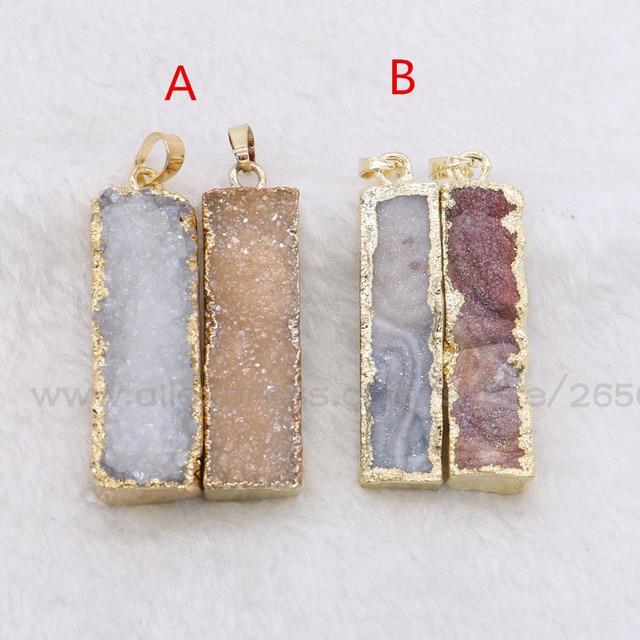 8Pcs Natural rectangle stone druzy pendant mix colors stone pendant small pendant gems jewelry for women fashion jewelry 919