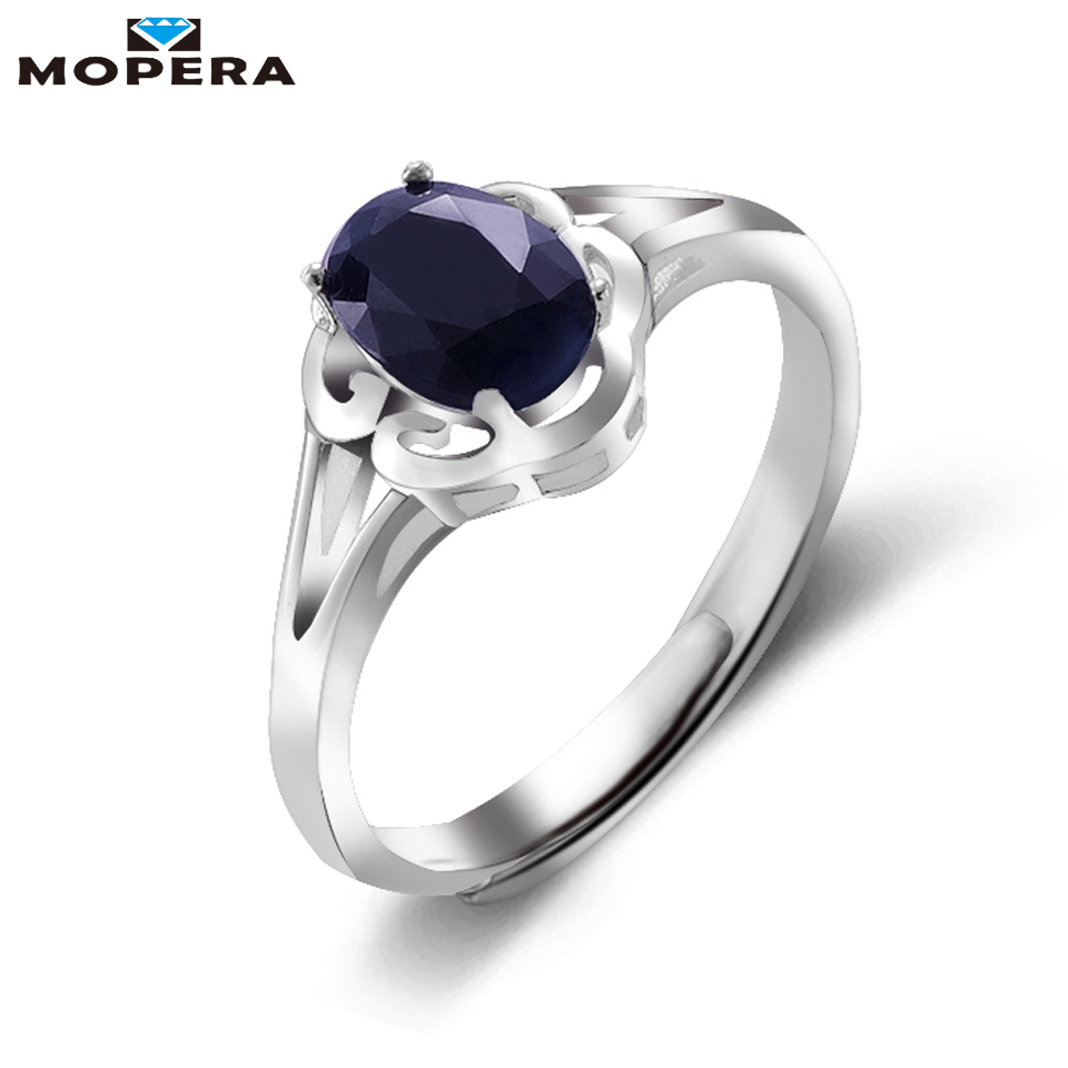 Mopera Flower Design 0.9ct Natural Dark Blue Sapphire Anniversary Birthday Ring For Women Solid 925 Sterling Silver Fine Jewelry