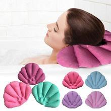 Подушка для ванны в форме раковины надувная махровая ткань домашняя подушка для ванны спа с присосками поддержка шеи Подушка случайный цвет Прямая поставка