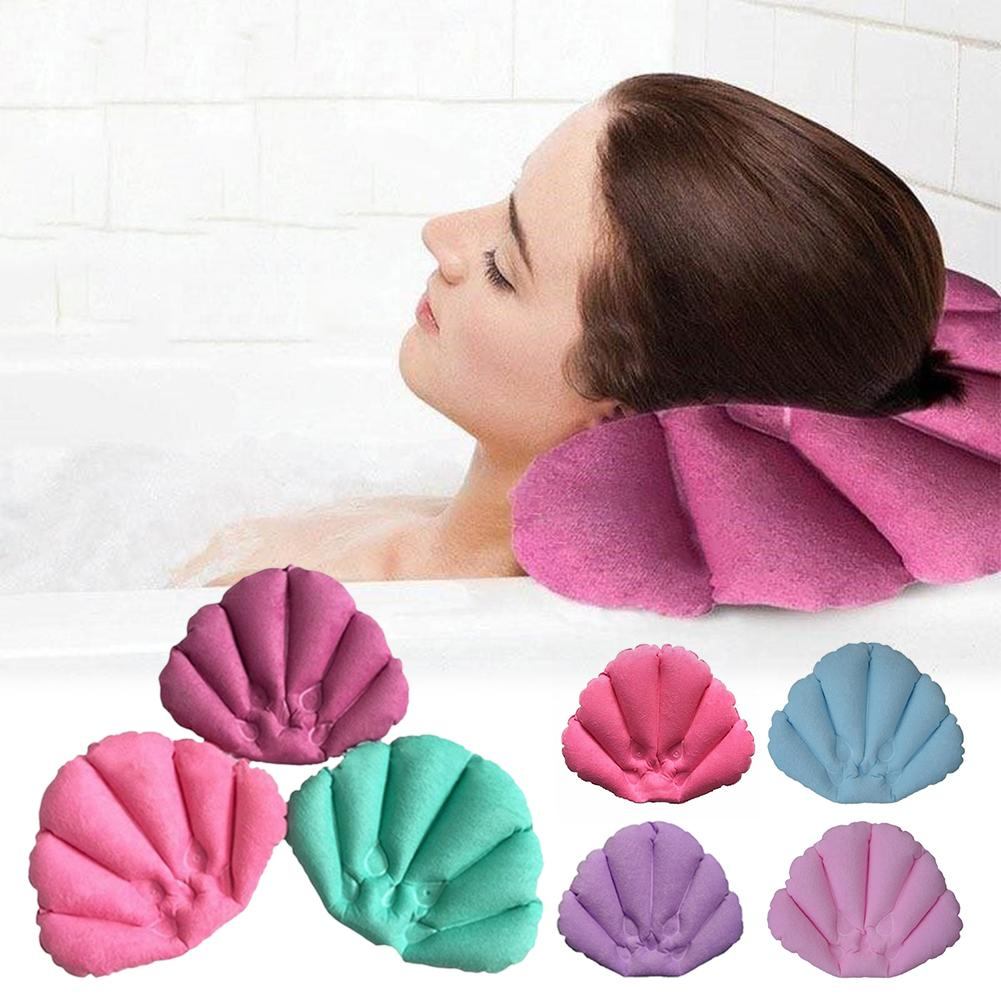 Bath Pillow Shell Shaped Inflatable Terry Cloth Home Spa Bath Pillow With Suction Cups Neck Support Pillow Random Color Dropship image
