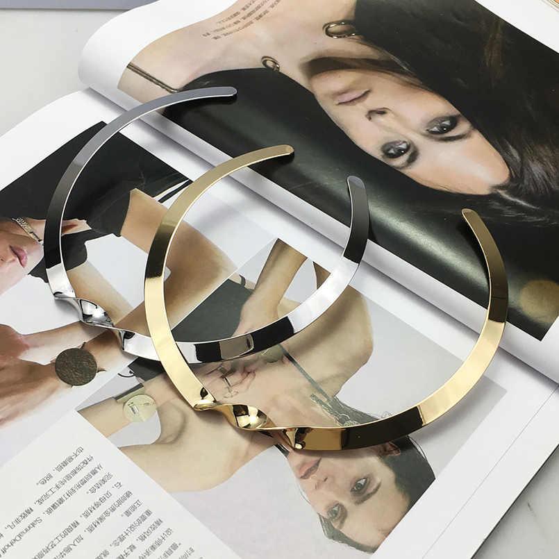 MANILAI superfície Brilhante Torção de Metal Colares Para As Mulheres Jóia Da Forma Do Punk Simples Colar Bib Gargantilha Colar Geométrica