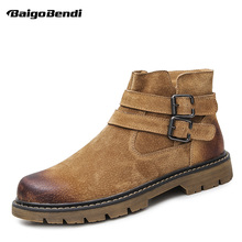 Retro Ankle Boots Men Cow Suede Leather Double Belt Buckle Winter Boots Casual Round Toe Comfort Boots Man US 6-10