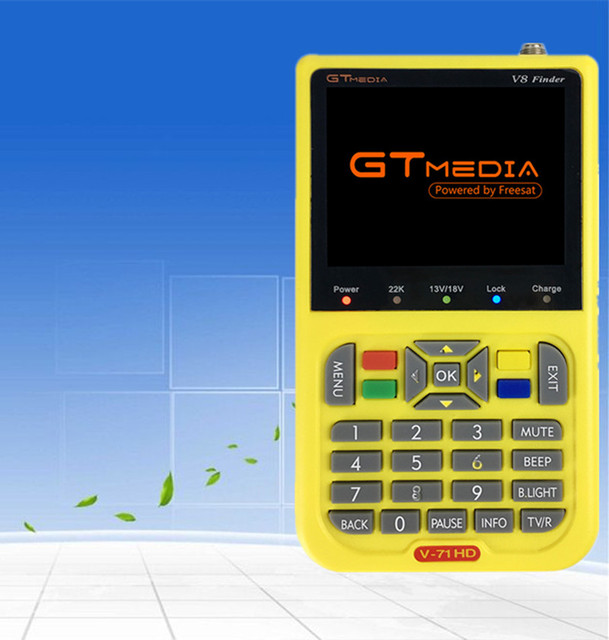GT media V8 Finder Satellite signal Finder V-71 HD DVB-S2 MPEG-2/MPEG-4 FTA Digital Satellite meter 3.5 inch LCD Display satlink