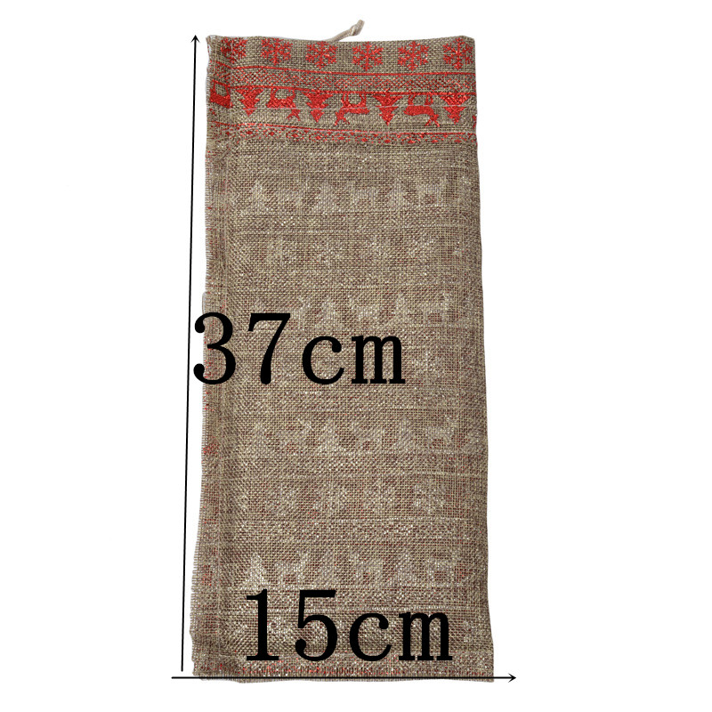 15x37cm Natural Jute Wine Cover Bags Rustic Burlap Drawstring Gifts Bag Candy Small Jewelry Pouches For Wedding Party Champagne