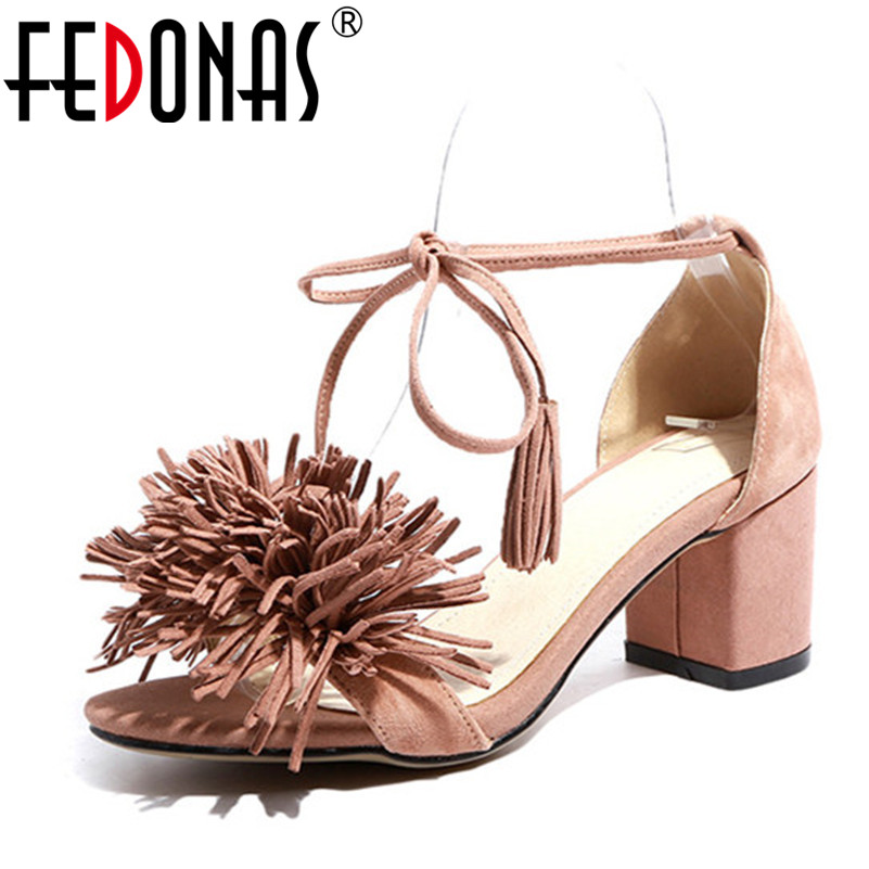 FEDONAS 2018 Ankle Strap Thick High Heels Women Sandals Summer Genuine Leather Shoes Woman Tassels Flowers Party Dress Sandals new arrival black brown leather summer ankle strappy women sandals t strap high thin heels sexy party platfrom shoes woman
