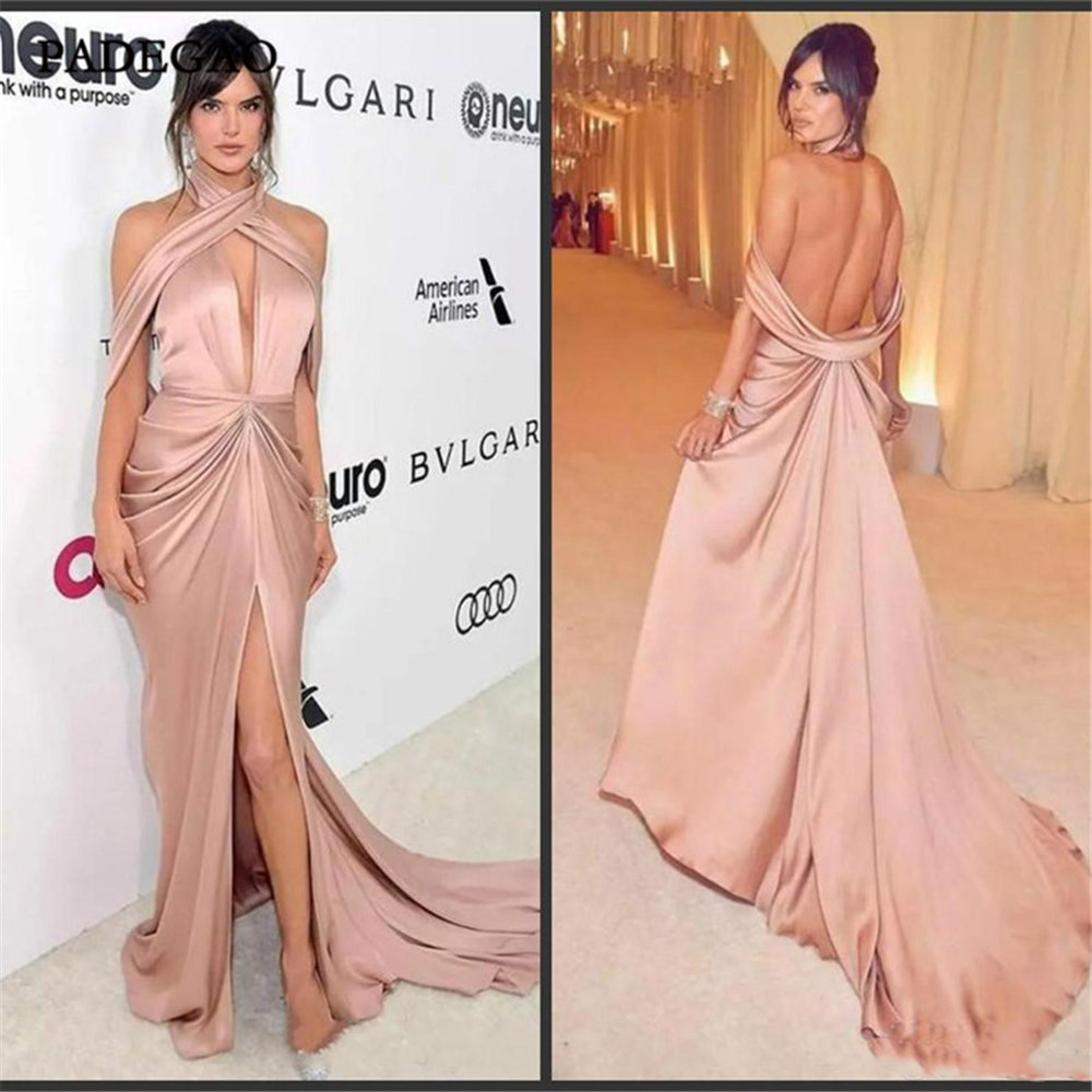 Elegant Pink Evening Dresses  A-Line Pleat Long Party Dress Floor Length Open Back Sweep Train Pleat Evening Dress