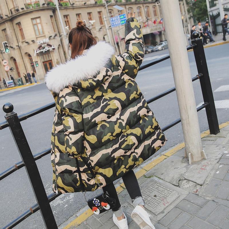 ФОТО Fashion camouflage thicken cotton padded winter coat women with big fur hooded warm long parka jaqueta feminina size s-l MF8