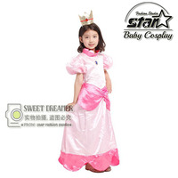 Halloween Costume Super Mario Princess Daisy Maxi Dress Peach Princess Cosplay Ball Gown Children Girls Birthday