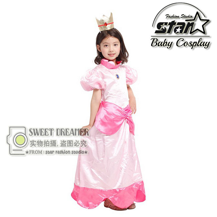 купить Halloween Costume Super Mario Princess Daisy Maxi Dress Peach Princess Cosplay Ball Gown Children Girls Birthday Gift недорого