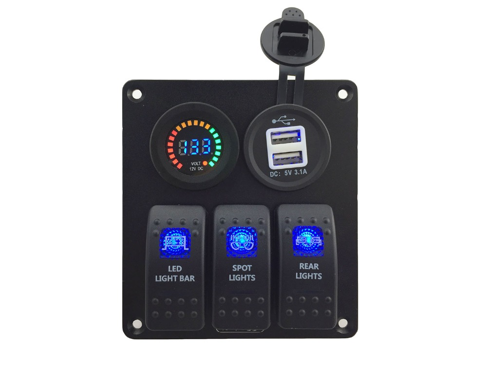DC12V 24V led voltmeter Double USB 3 1A Power Outlet Charger Socket 3 Gang blue Rocker Switch Panel Marine Boat Car Rv in RV Parts Accessories from Automobiles Motorcycles