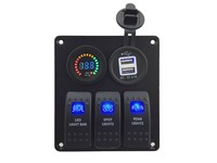 DC12V-led voltmetro + Doppio 3.1A USB Presa di Corrente Caricatore Socket 3 Gang blu Rocker Switch Panel Marine Auto Rv