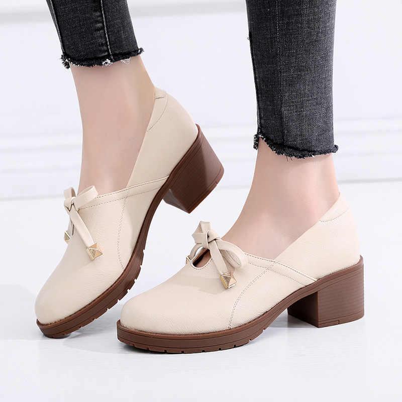 d7e0e88de Medium Square Heel Bow Shallow Pumps Women Shoes 2019 Spring Elegant Leather  Shoes OL Office Shoes