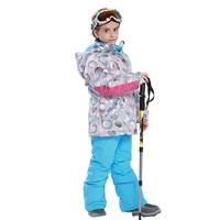 Детский лыжный костюм зимняя ветронепроницаемая теплая одежда для девочек комплект куртка + комбинезон комплект одежды для мальчиков на во