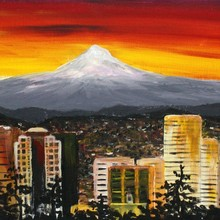 Handmade Beautiful City Landscape View Under the Sunset From