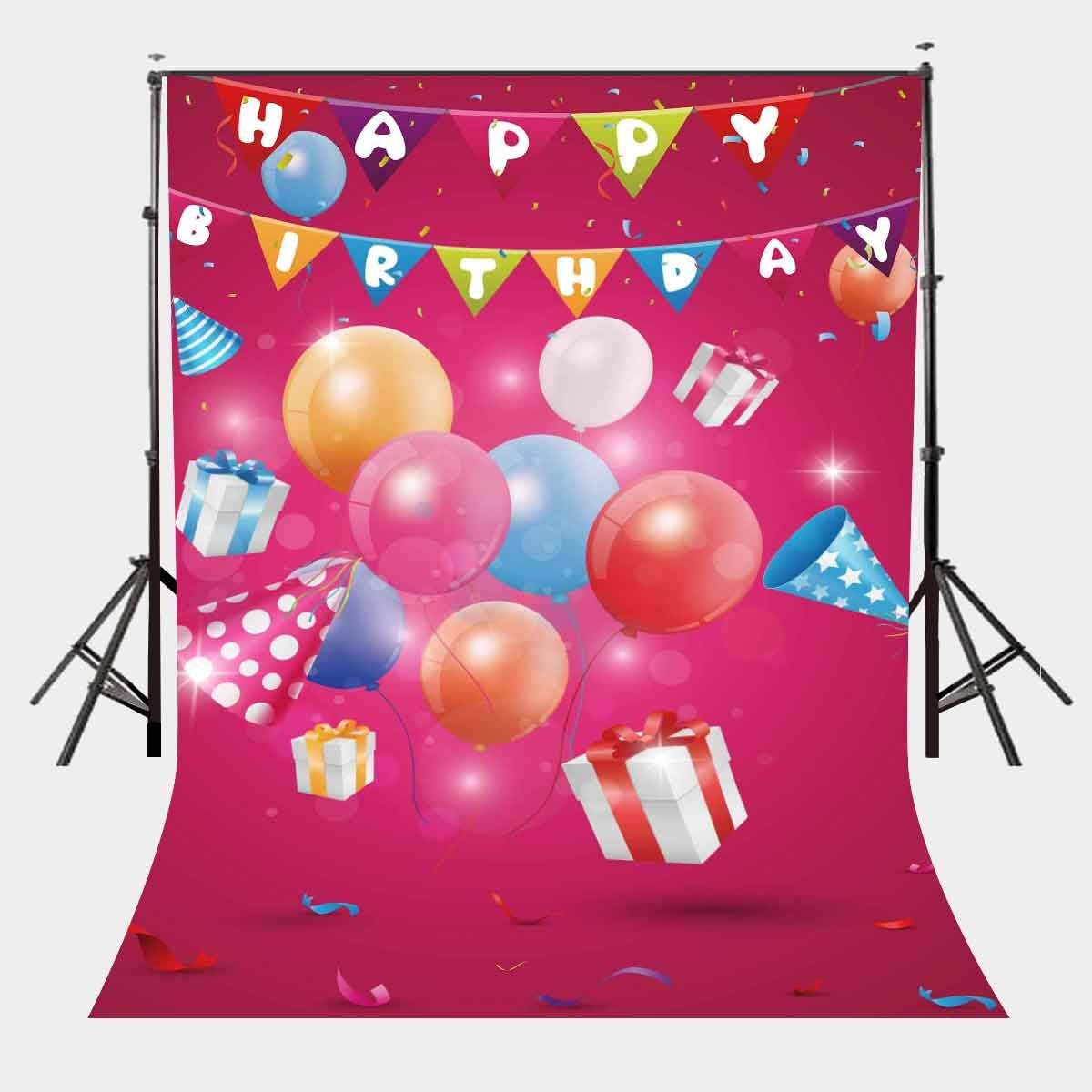 5x7ft Happy Red Gift Room Backdrop Colorful Balloons Colorful Flags Photography Background Birthday Party