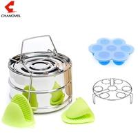 CHANOVEL 2 Layers Food Steamer Basket 304 Stainless Steel Portable Steam Grid Stackable Pressure Cooker Steamer Pot Set