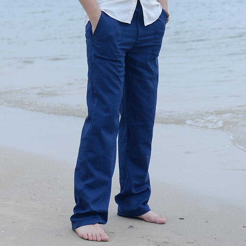 HTB1ceKkilsmBKNjSZFsq6yXSVXak 2019 Casual Pants for Men Cotton Linen Straight Trousers White Linen Elastic Waist Leisure Beach Man's Full Pants Plus Size