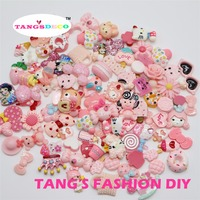 100 шт. -- DIY Смола Розовый Цвет Смешанная форма милые украшения/Детские украшения DIY