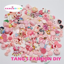 100pcs   DIY resin pink color mix shape cute deocorations/chilrdren DIY decoration