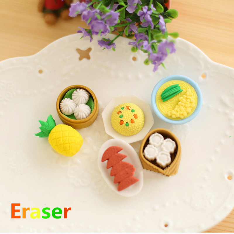 4Pcs/Lot Various Random Kawaii Funny Food Rubber And Pencil Erasers For Kids Set Stationery Children Party Present
