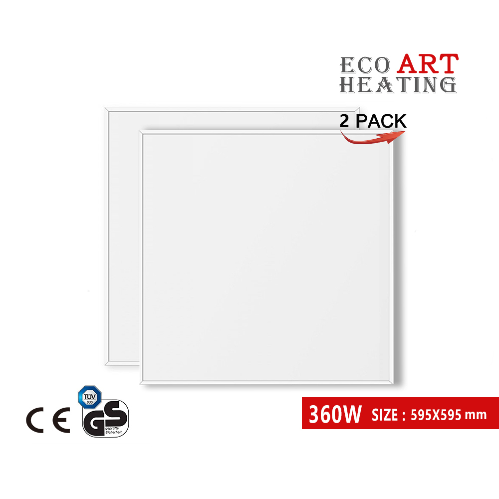 Chauffage infrarouge 360 W 2 PACK panneau chauffant électrique radiateur mural rayonnant