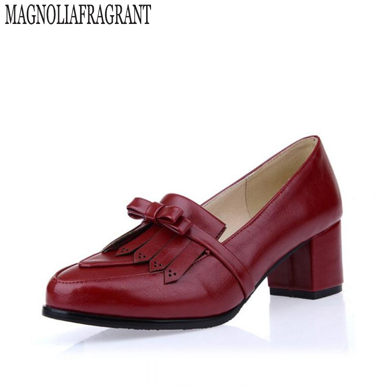 Туфли-мокасины женская обувь британская обувь в стиле ретро обувь из искусственной кожи с бахромой узкие туфли на высоком каблуке лакирова...