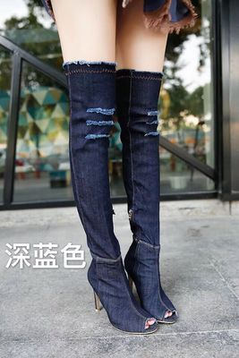 ORATEE2017 Europe and the United States new single boots denim spring and summer high boots boots high-heeled with fish mouth bo
