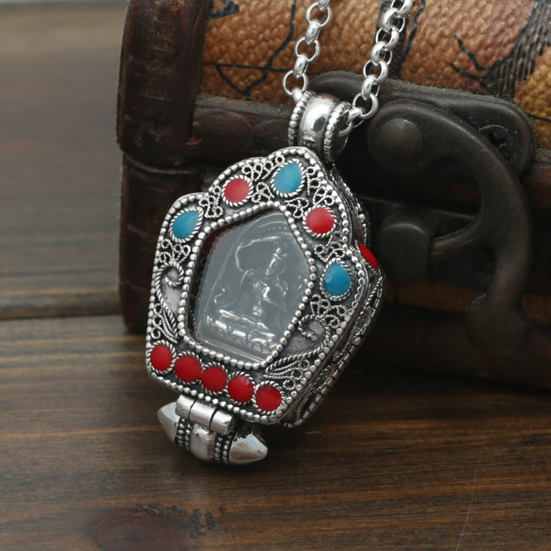 цена S925 sterling silver lace Buddha Pendant Jewelry Silver Box gawu Tibetan Buddhist pendant male and female fashion