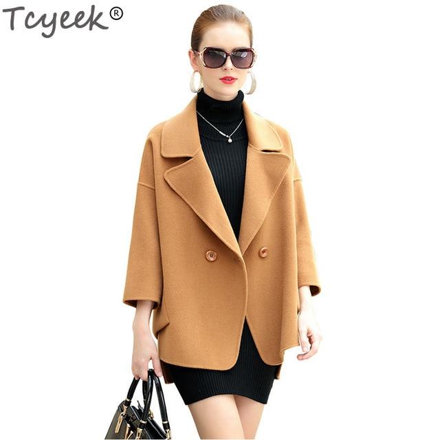 Tcyeek Otoño Invierno mujeres lana abrigo tres cuartos chaquetas ...