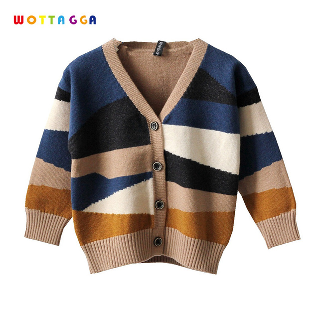 4c44e1a5c WOTTAGGA 2018 Autumn Kids Sweater Patchwork Design Baby Knitted ...