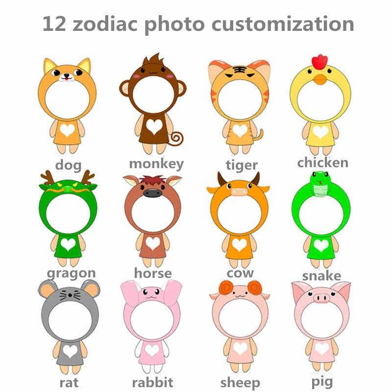 Habinisi diy foto personalizada muñeca de peluche 12 zodíaco conejo - Muñecas y accesorios - foto 2