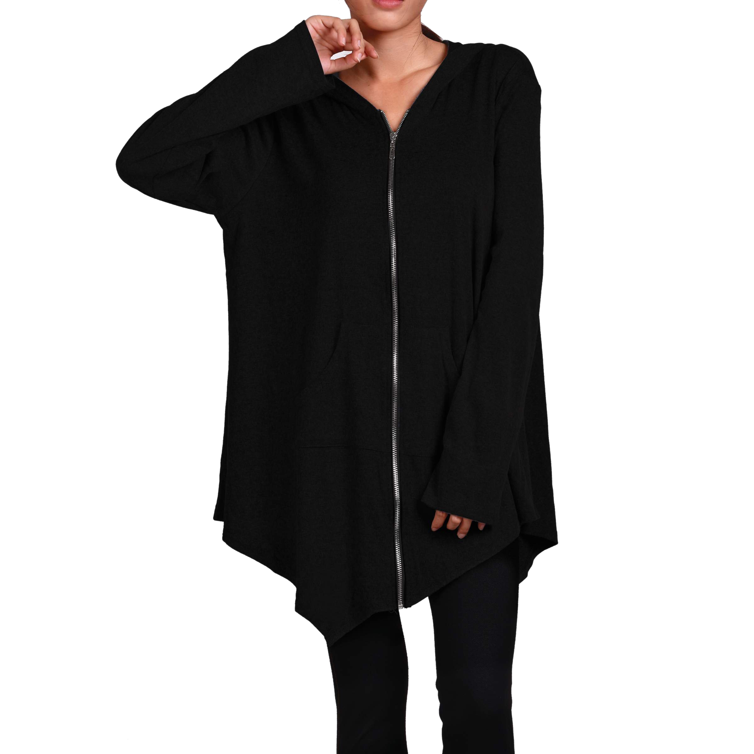 SAF-New Women irregular Zip Long Hoodie Jacket Coat cape Plus Size HOT