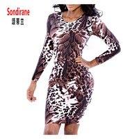Sondirane Sexy Pack Hip Dress 3D Print Leopard Pattern Creative Vogue Dress Women Long Sleeve Party Dress Club Night Tight Dress