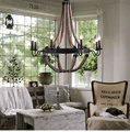 3/6/8 heads American countryside Wrought Iron Creativity pendant lamps Coffee Bar Dining Room hand knitting hemp Rope Chandelier