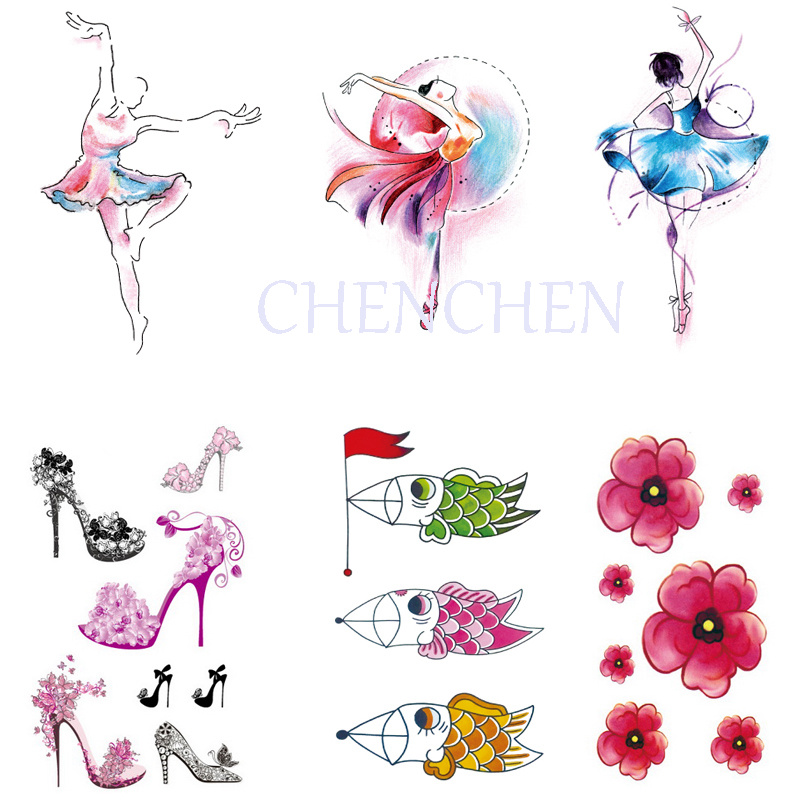 Autoadesivo Del Tatuaggio temporaneo per body art danza classica tacco alto  scarpe gatto di trasferimento dell acqua flash tatuaggio finto tatoo per  donne ... 0aca98f895b