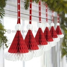 Christmas Paper Decoration  3pcs Honeycomb Santa Hats Hanging Ornament For Party Festival